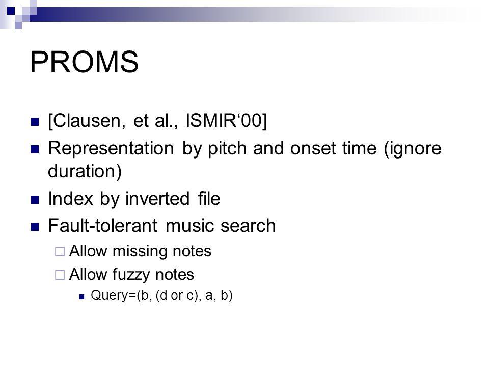 PROMS [Clausen, et al., ISMIR'00]